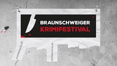 Grafische Darstellung mit dem Schriftzug Braunschweiger Krimifestival auf einer grauen Betonwand © Braunschweiger Krimifestival.