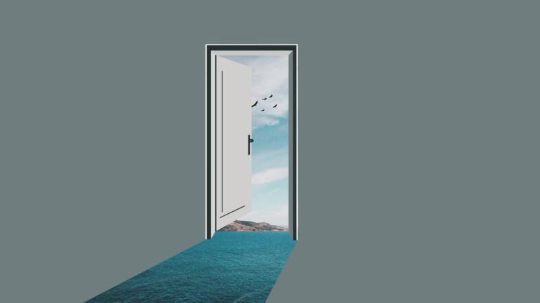 Grafik einer offenen Tür in den Himmel.