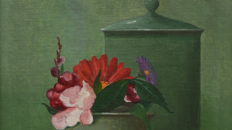 Fotografie des Gemäldes Grünes Stillleben aus 1948 von Franz Radziwill. Zu sehen sind Blumen vor einem grünen Hintergrund.