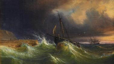 Öl auf Leinwand. Ein Schiff befindet sich auf dem stürmischen Meer
