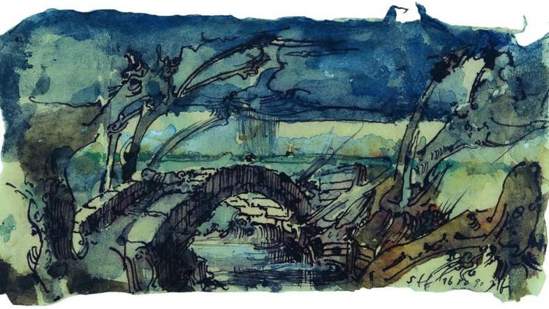 Aquarell Malerei von Horst Janssen. Zu sehen ist eine Brücke aus Stein.