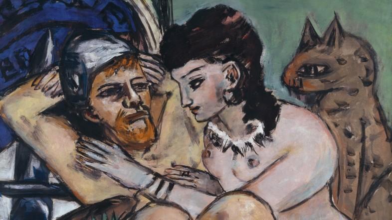 Gemälde eines Mannes und einer Frau die nackt auf einem Bett liegen. Die Frau liegt halb auf der Brust des Mannes.