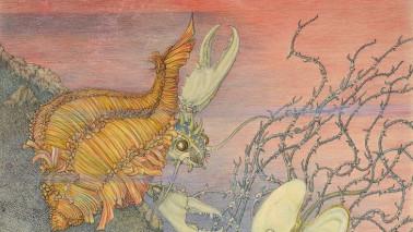 Farbiges Bild eines kreativ gezeichneten Krebses. Teil der Ausstellung Ilna Ewers-Wunderwald Expedition Jugendstil.