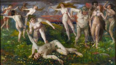 """Gemälde der Ausstellung """"im freien"""", von nackten Menschen, die draußen feiern."""