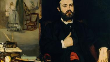 """Porträt von Astruc, gemalt von Manet, Teil der Ausstellung """"Künstlerfreunde"""""""