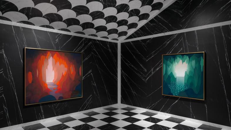Eine Raumdarstellung zeigt zwei Bilder von Nicolas Party in seiner Ausstellung Stage Fright. Sie zeigen Grotten, einmal in Rot- und einmal in Grüntönen.